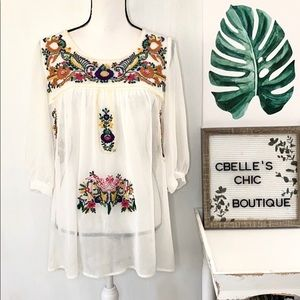 Sienna Rose Bohemian Embroidered Top Sz S